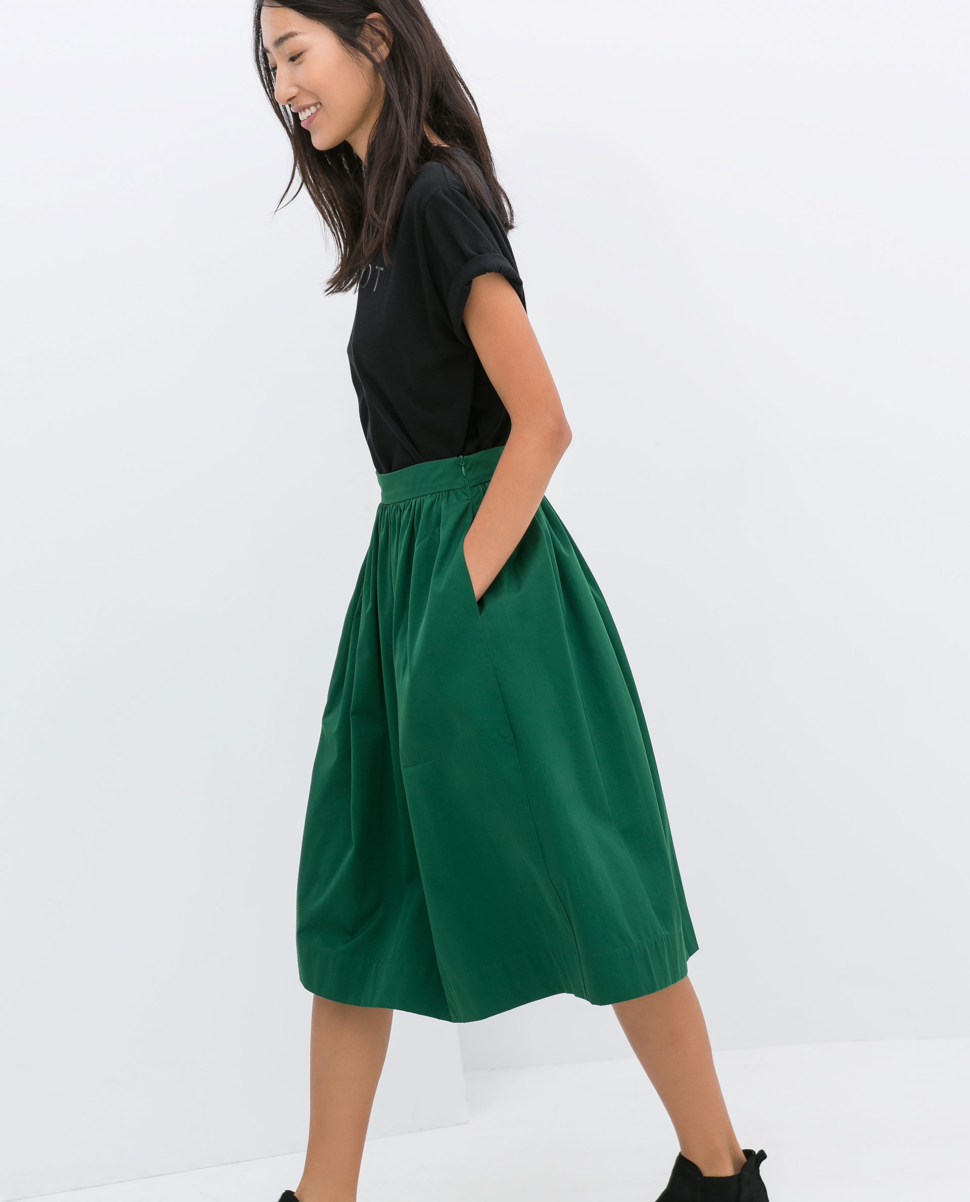 Zara Midi Skirt in Green | Lyst