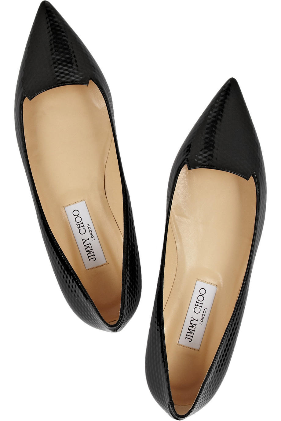 4eaa88dc72 Jimmy Choo Attila Embossed Patent-Leather Point-Toe Flats in Black ...