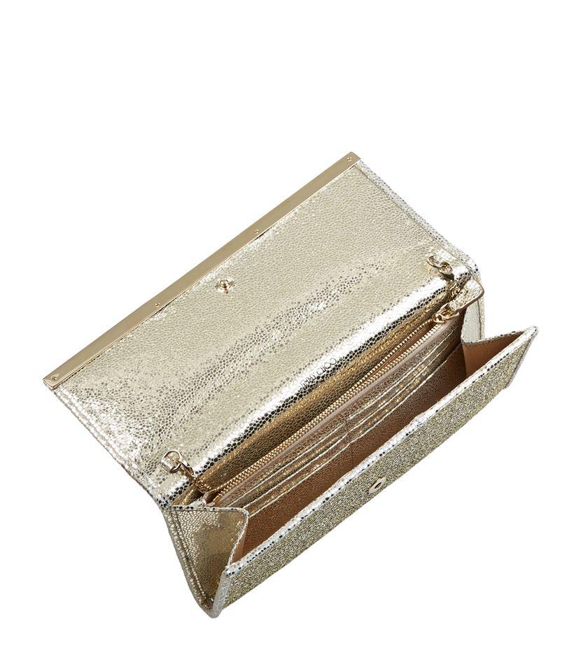 jimmy choo milla glitter clutch in metallic lyst. Black Bedroom Furniture Sets. Home Design Ideas