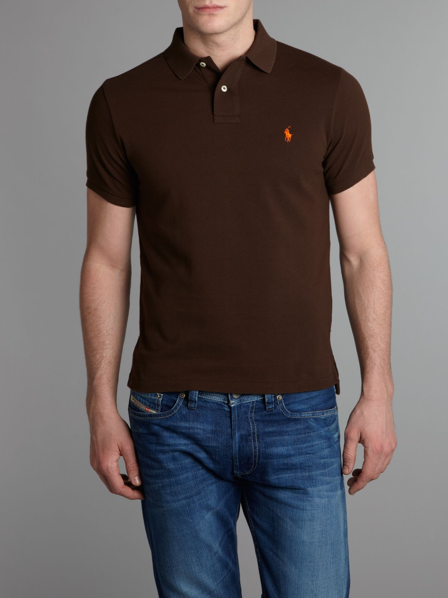 Lyst polo ralph lauren slim fit mesh polo shirt in brown Man in polo shirt