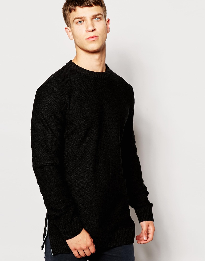 Another Influence Side Zip Jumper In Black For Men Lyst