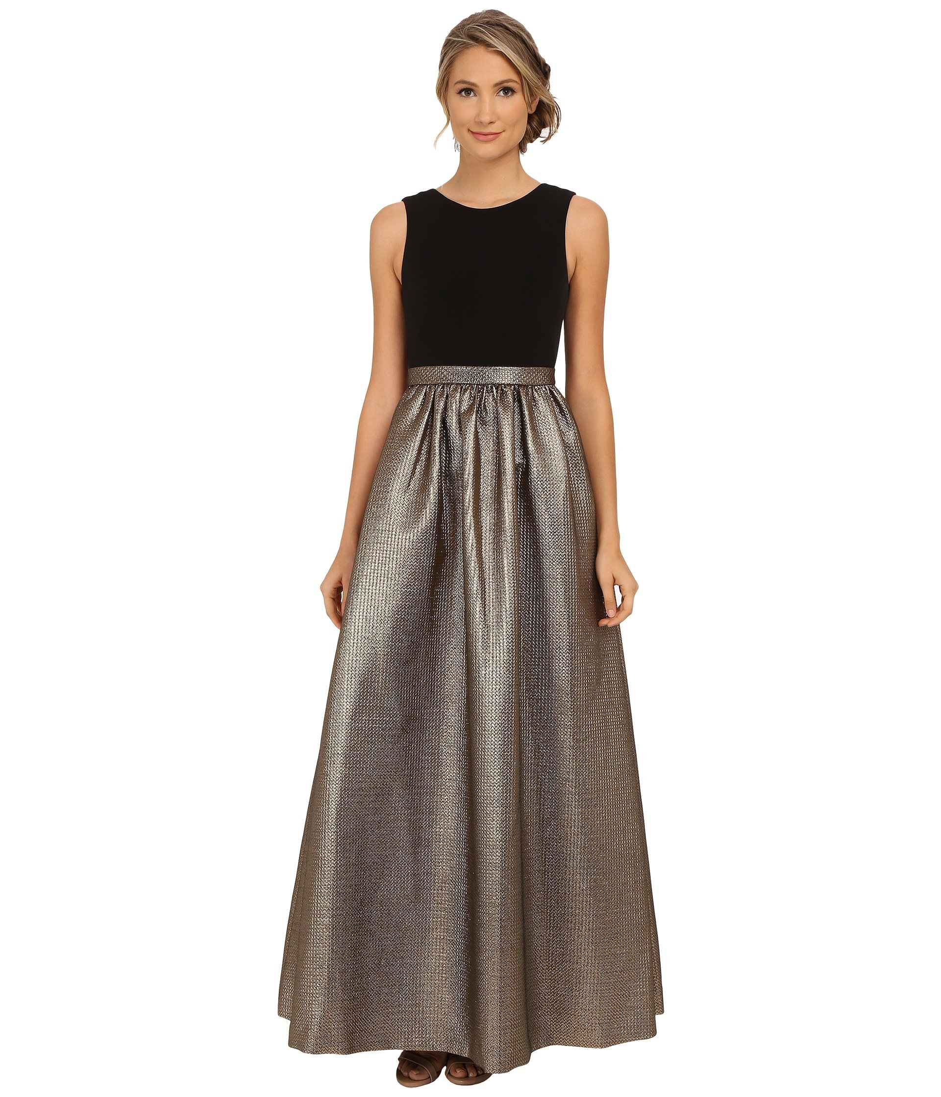 0aedb7190ac2d Lyst - Calvin Klein Sleeveless Ballgown in Metallic