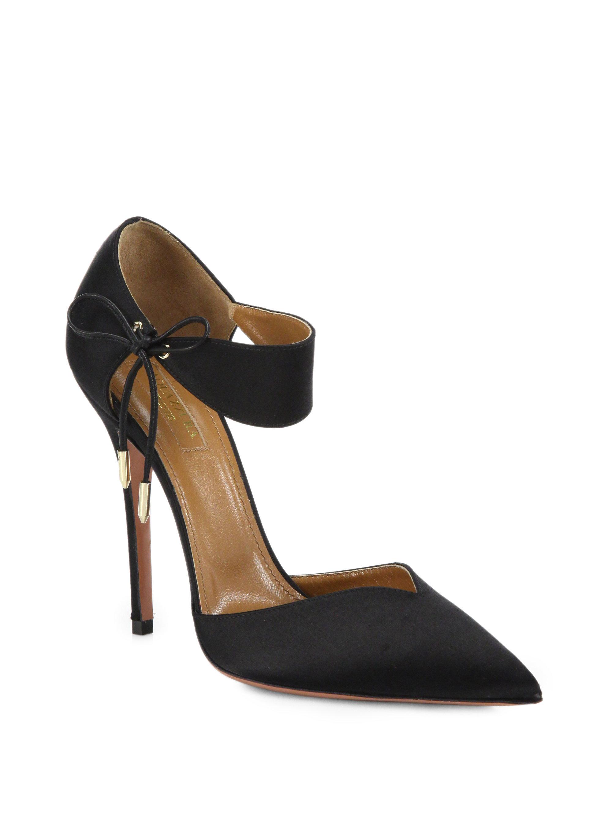 c264d63a2db Lyst - Aquazzura Candela Ankle-tie Satin Pumps in Black
