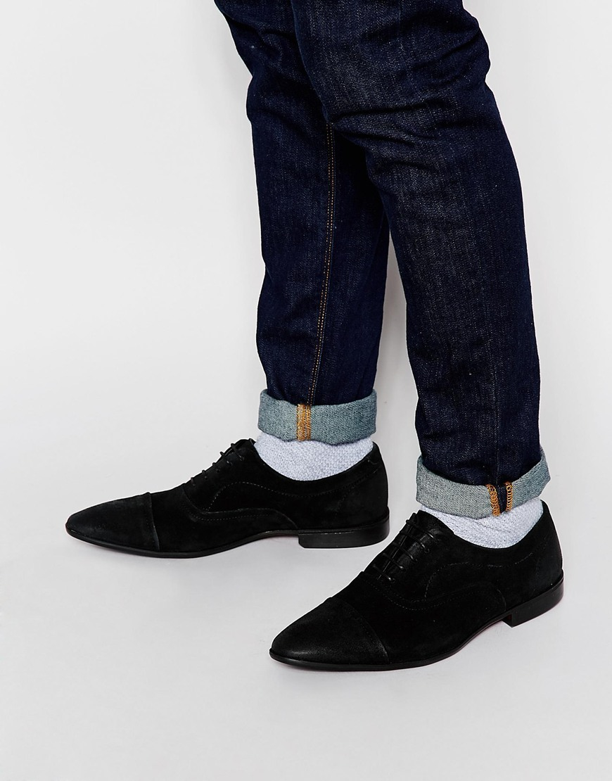 Lyst - ASOS Oxford Shoes In Black Suede in Black for Men 5df1dc2a5