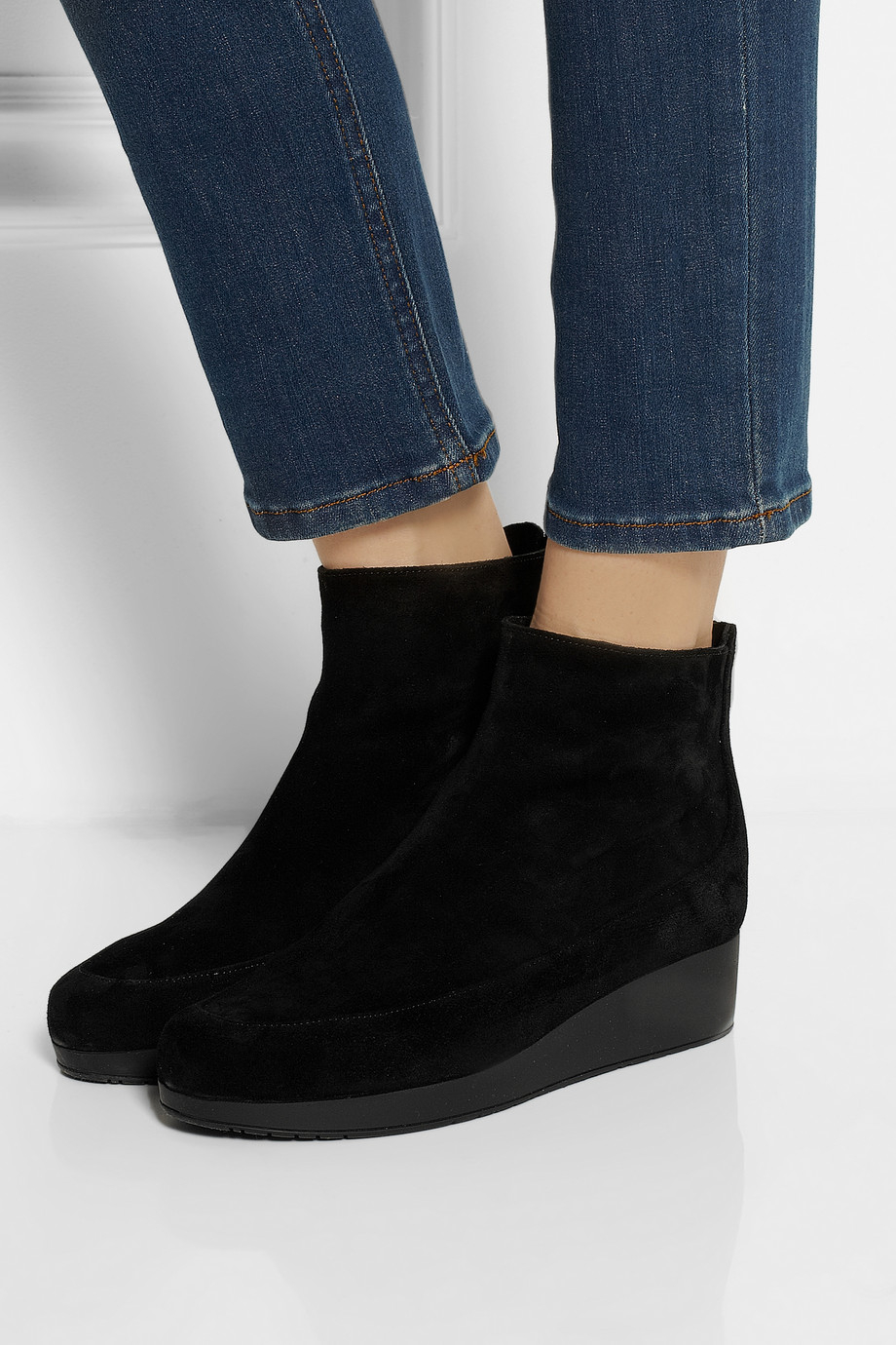 ba4f6dc576f6 Lyst - Robert Clergerie Nagil Suede Wedge Ankle Boots in Black