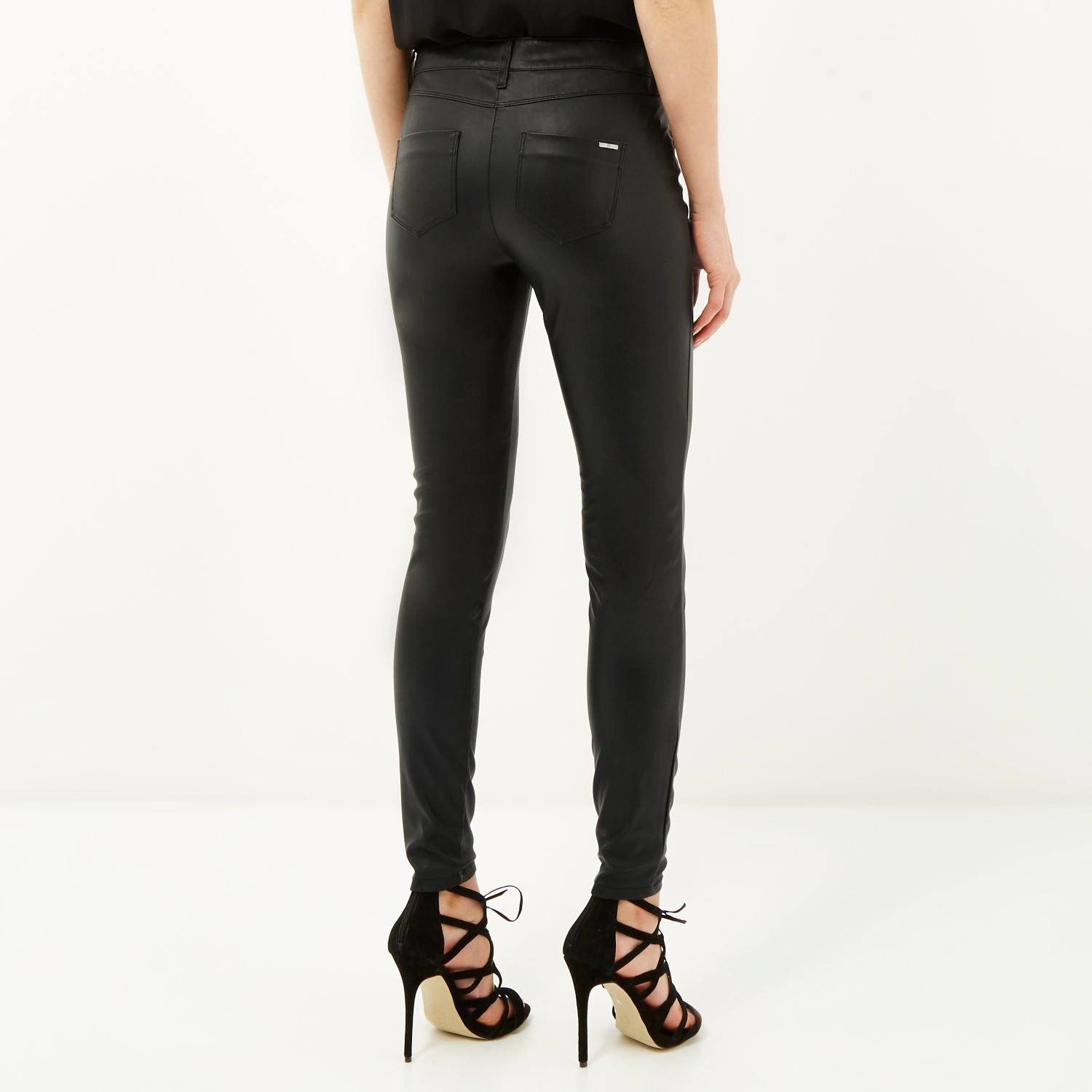 22b6ec479b089f River Island Black Lace-up Leather-look Trousers in Black - Lyst