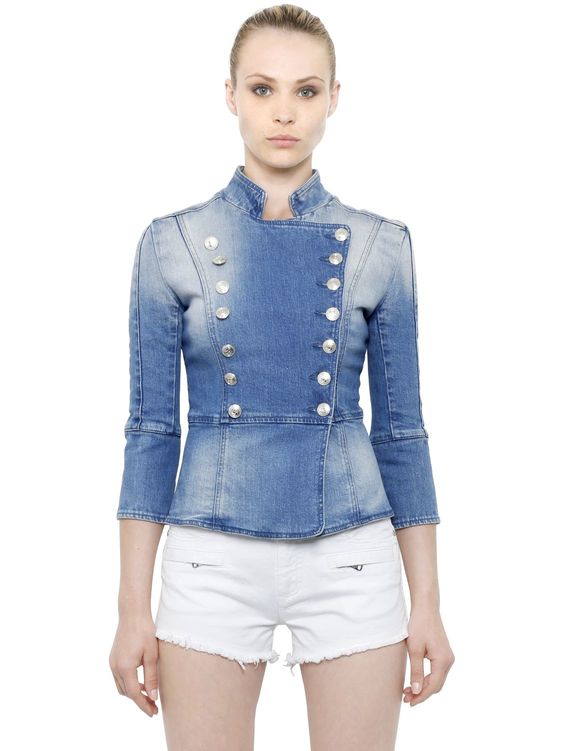 6e65cbde74d Balmain Double Breasted Cotton Denim Jacket in Blue - Lyst