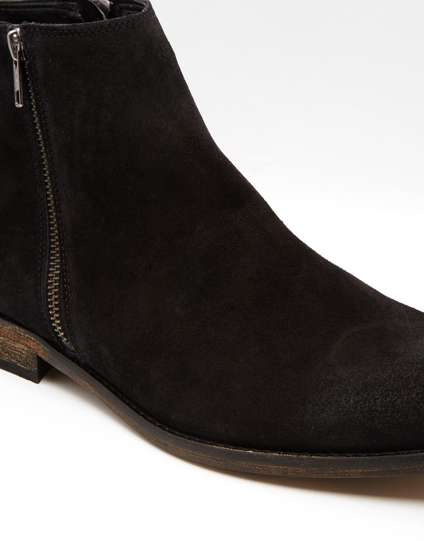 Lyst Asos Chelsea Boots In Black Suede With Double Zip