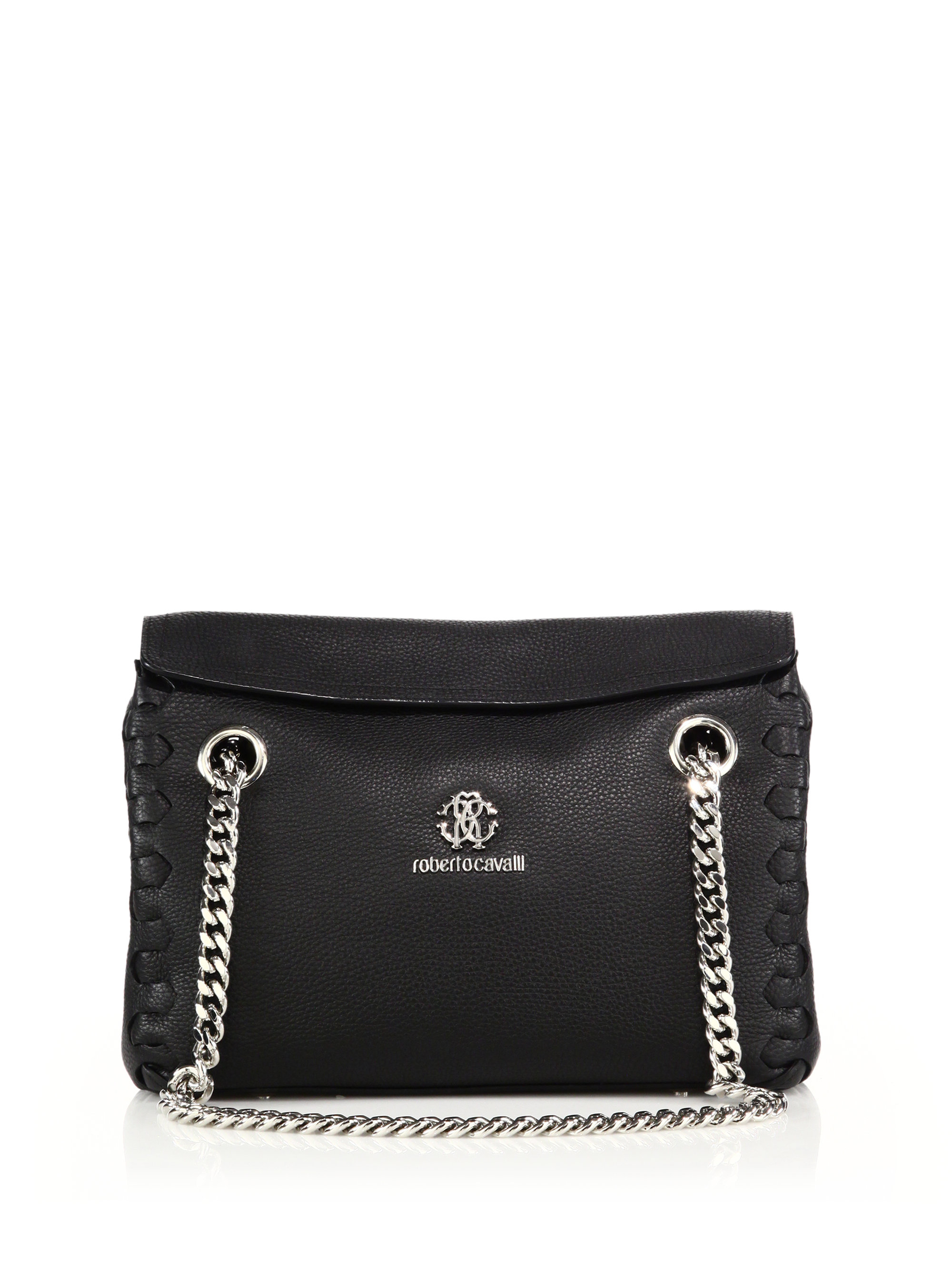 7706ce61605 Lyst Roberto Cavalli Chain Handle Leather Shoulder Bag In Black