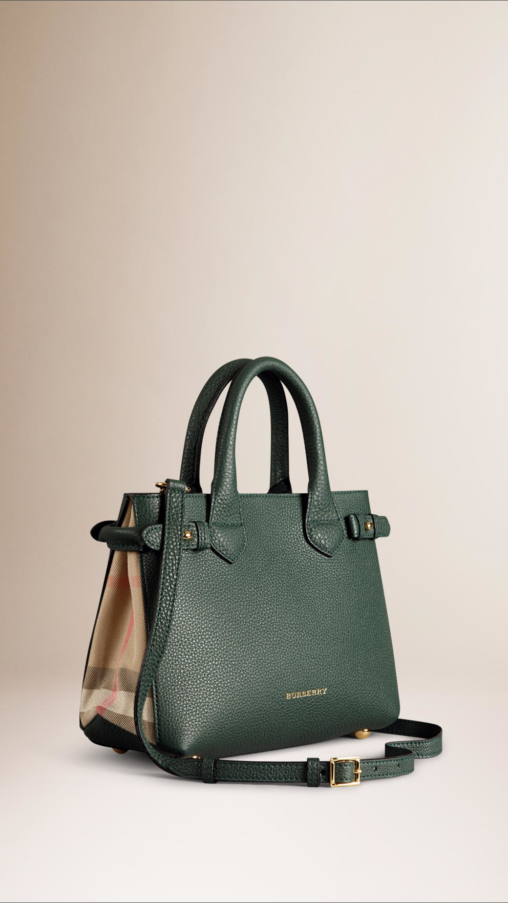 Burberry The Small Banner In Leather And House Check in Green | Lyst
