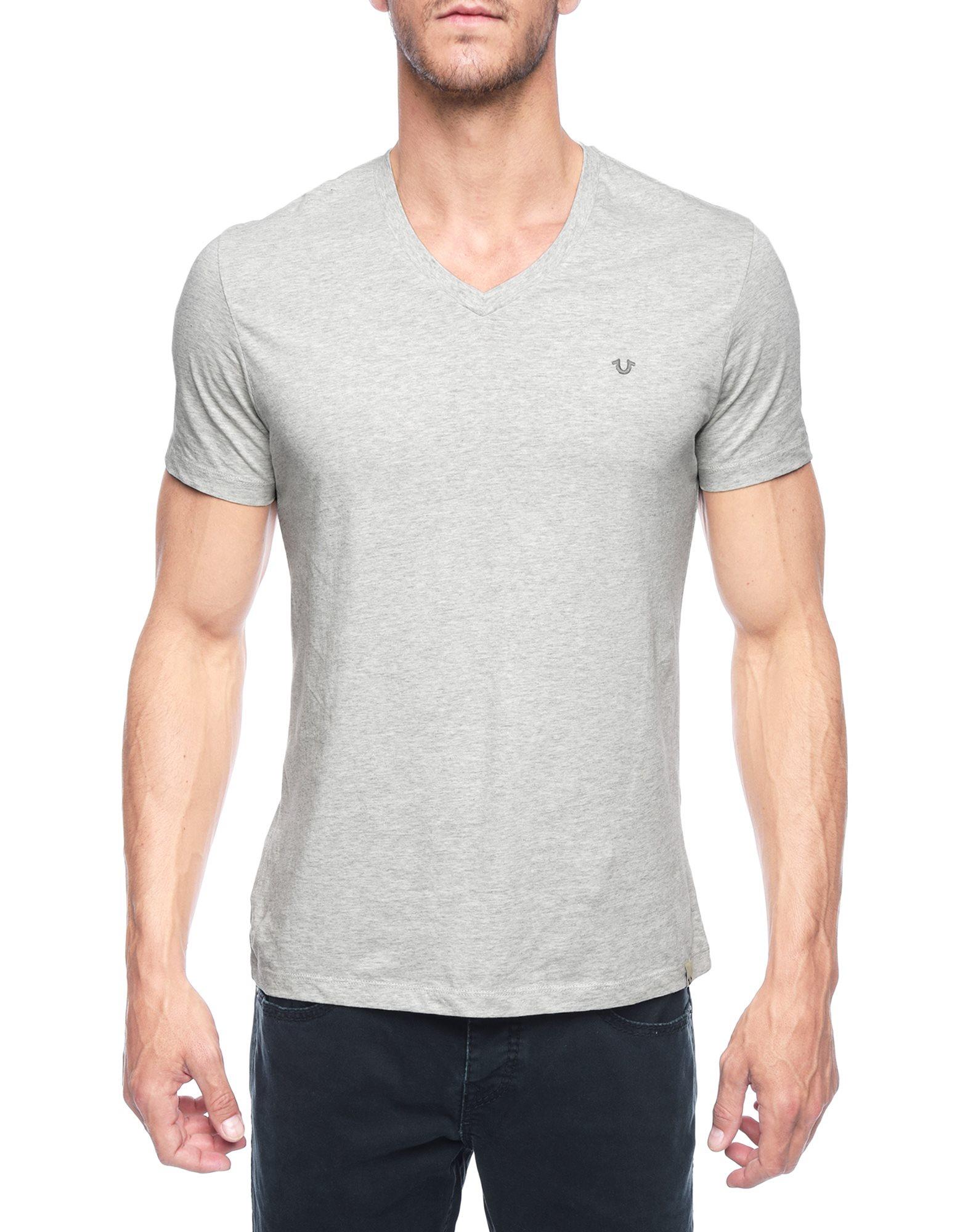 True religion heather v neck mens t shirt in gray for men Mens heather grey t shirt