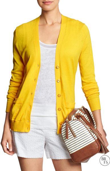 Banana Republic Factory Long Vee Cardigan In Yellow