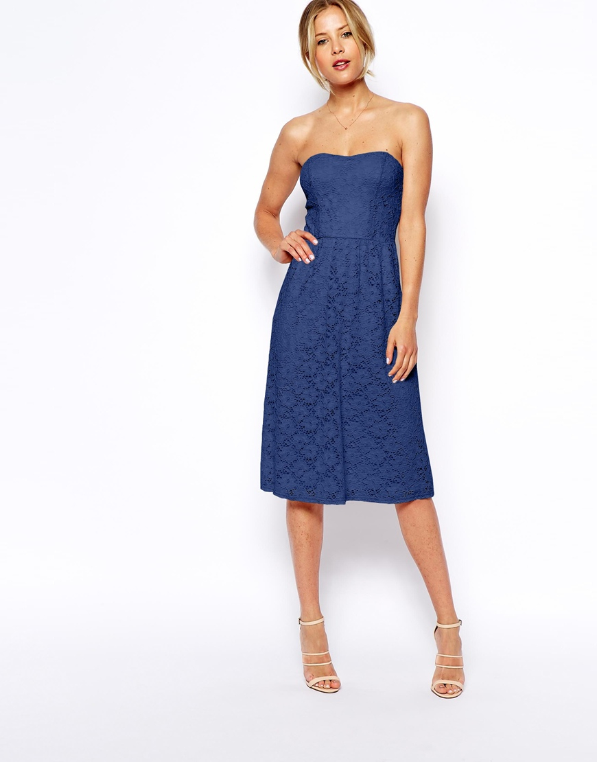 Asos Bandeau Midi Dress In Lace in Blue | Lyst