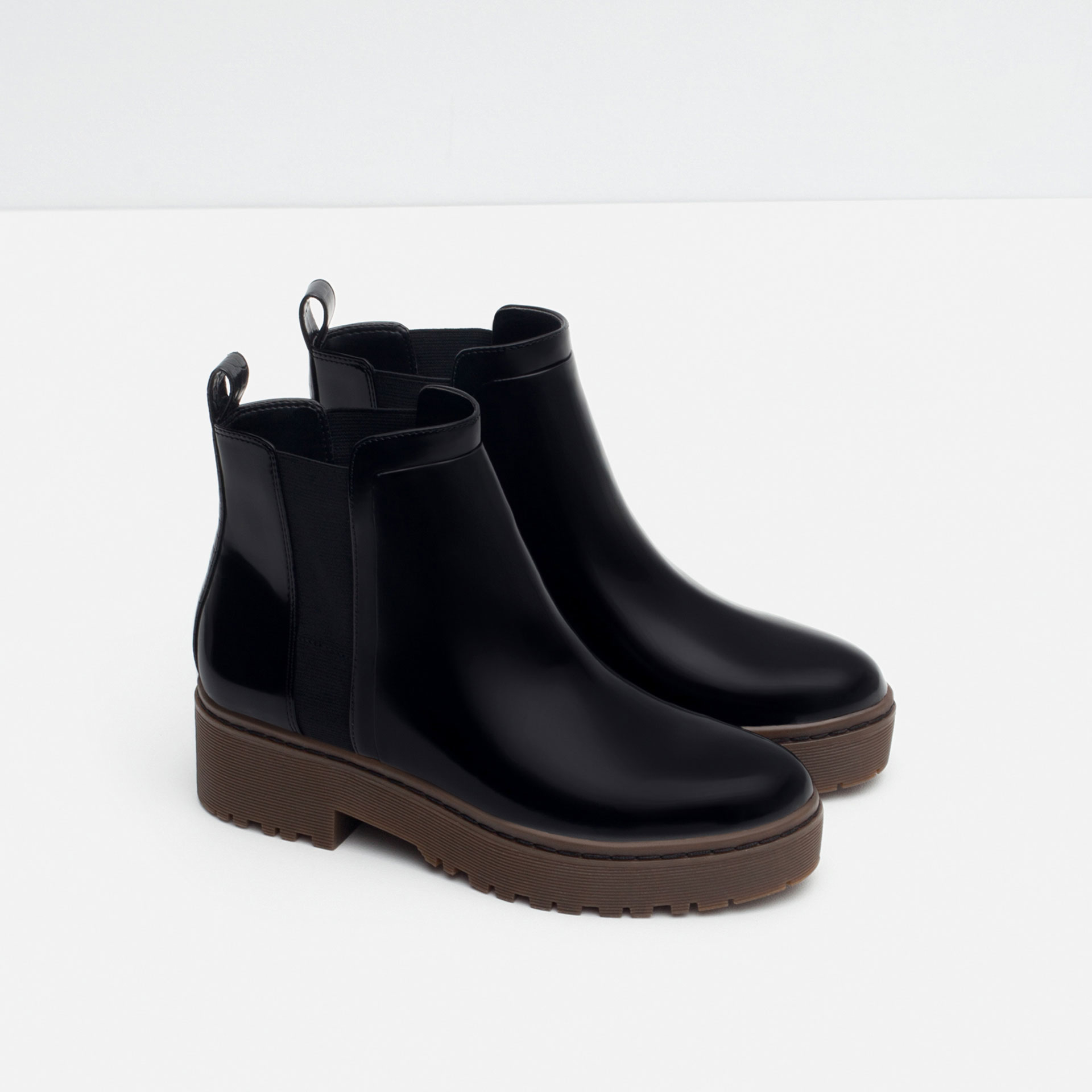 Zara Flat Track Ankle Boots in Black | Lyst
