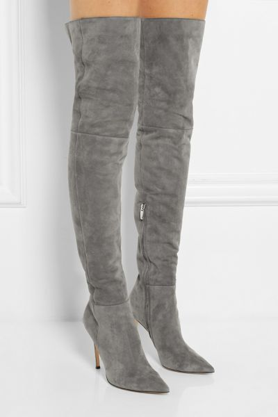 Gianvito Rossi Suede Overtheknee Boots In Gray Lyst