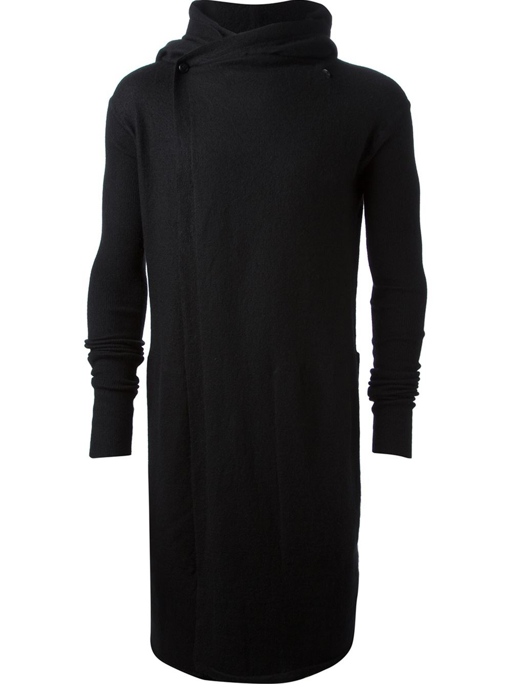 Rick owens Long Hooded Cardigan in Black for Men | Lyst