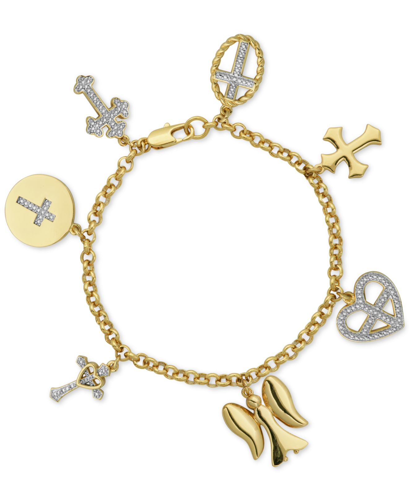 Inspirational Charm Bracelets: Macy's Diamond Accent Inspirational Charm Bracelet In 18k