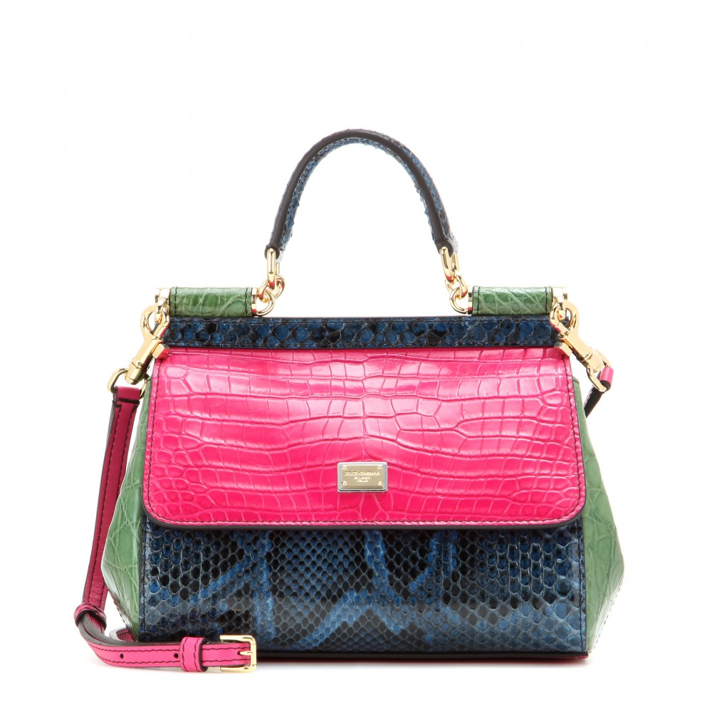 Dolce Gabbana Miss Sicily Mini Python Caiman And Crocodile Leather Shoulder Bag Lyst