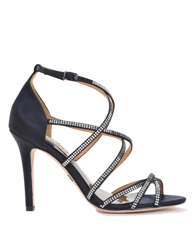 badgley mischka meghan strappy evening shoe in black lyst