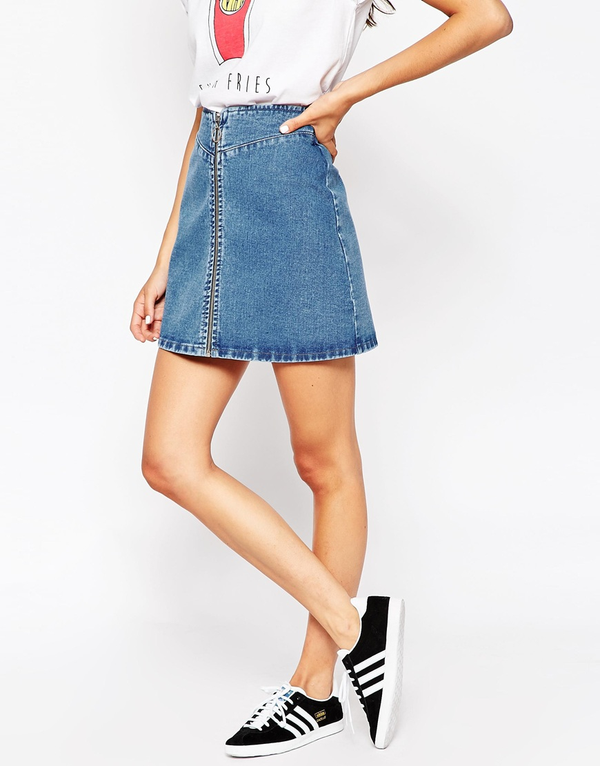 Asos Denim A-line Skirt With Zip Front In Midwash Blue in Blue   Lyst