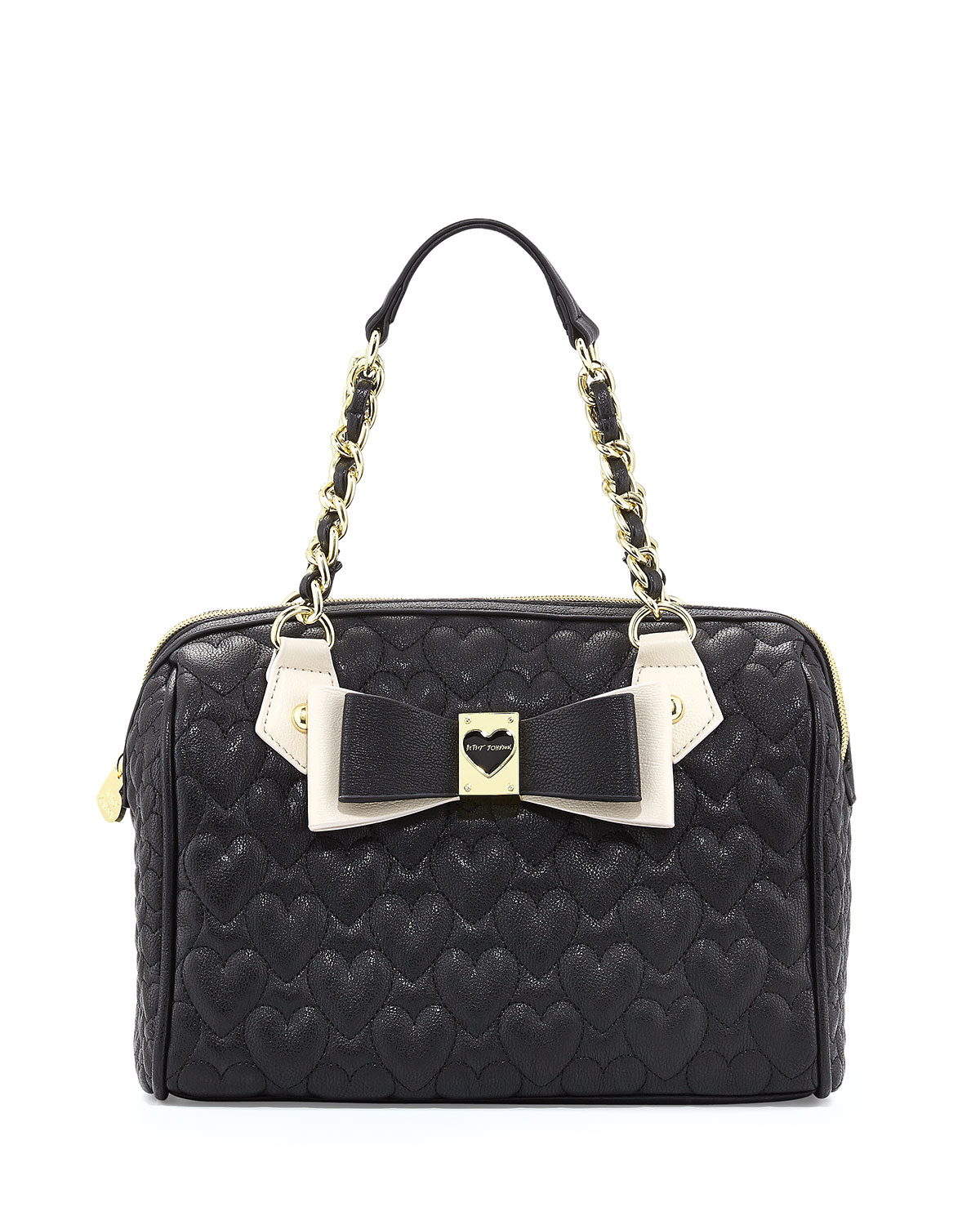 betsey johnson twotone quilted satchel bag black in