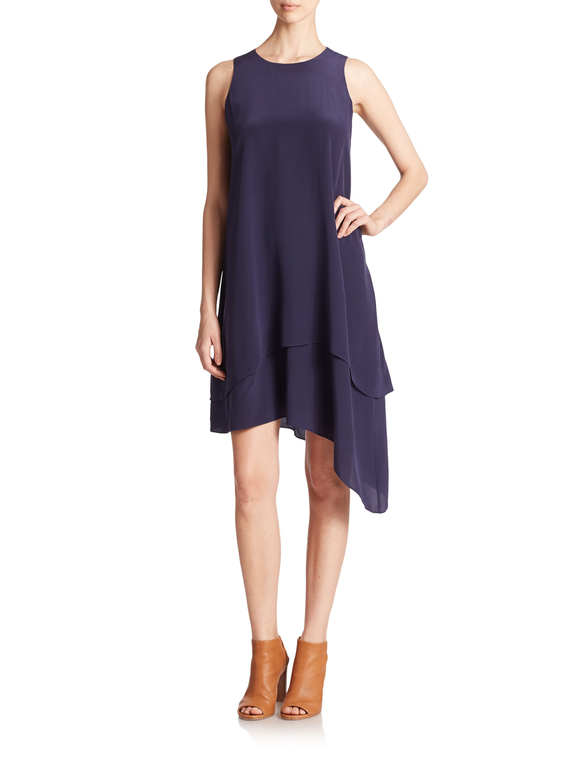 Lyst Eileen Fisher Silk Asymmetrical Dress In Blue