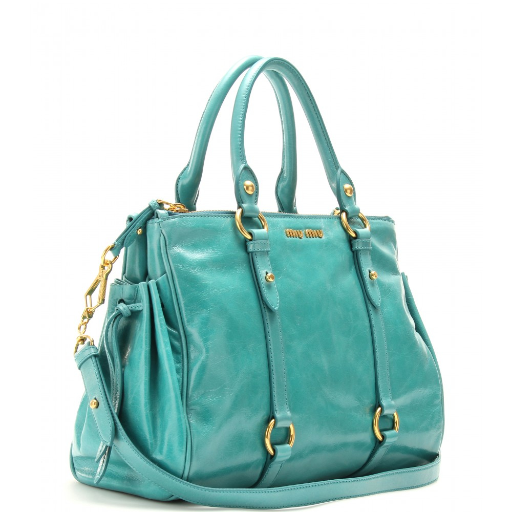 Lyst - Miu Miu Glazed Leather Tote in Blue