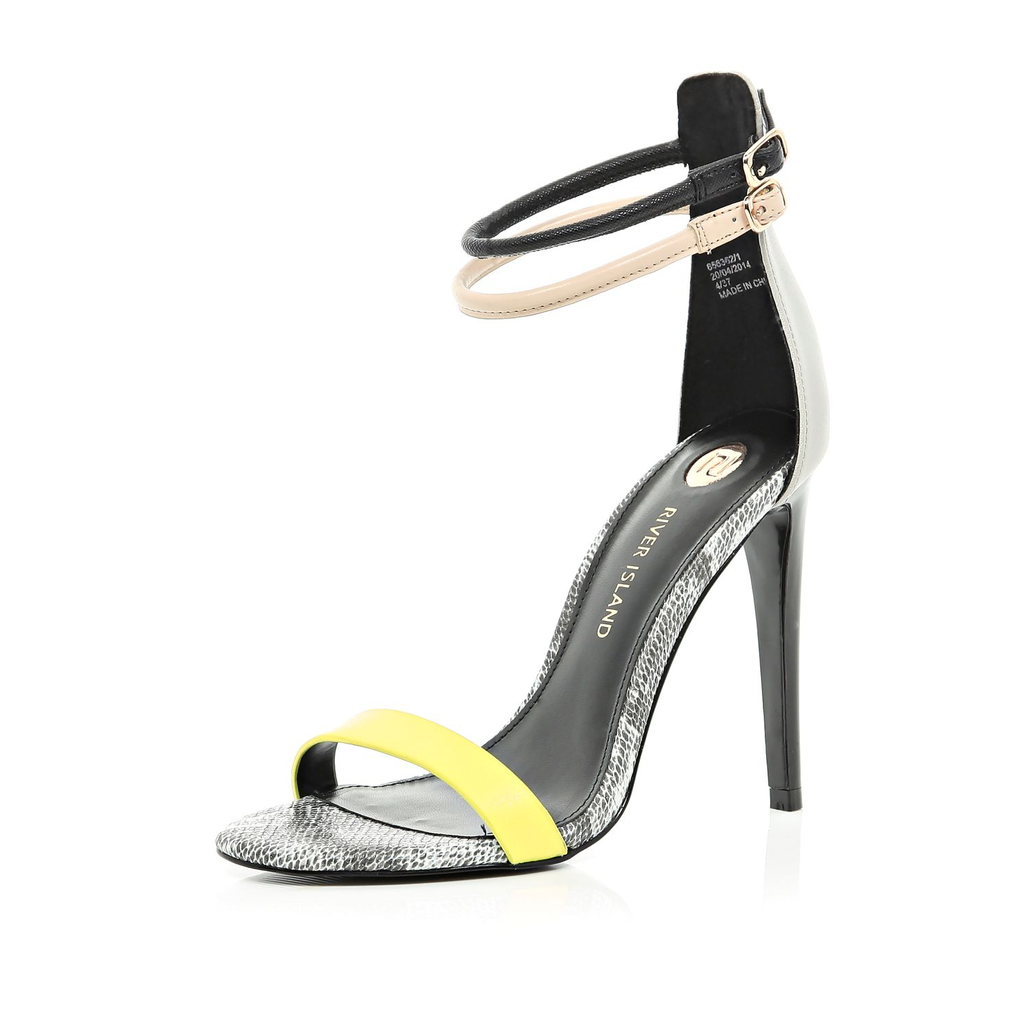 c89d43f68bc River Island Black Colour Block Barely There Sandals in Yellow - Lyst