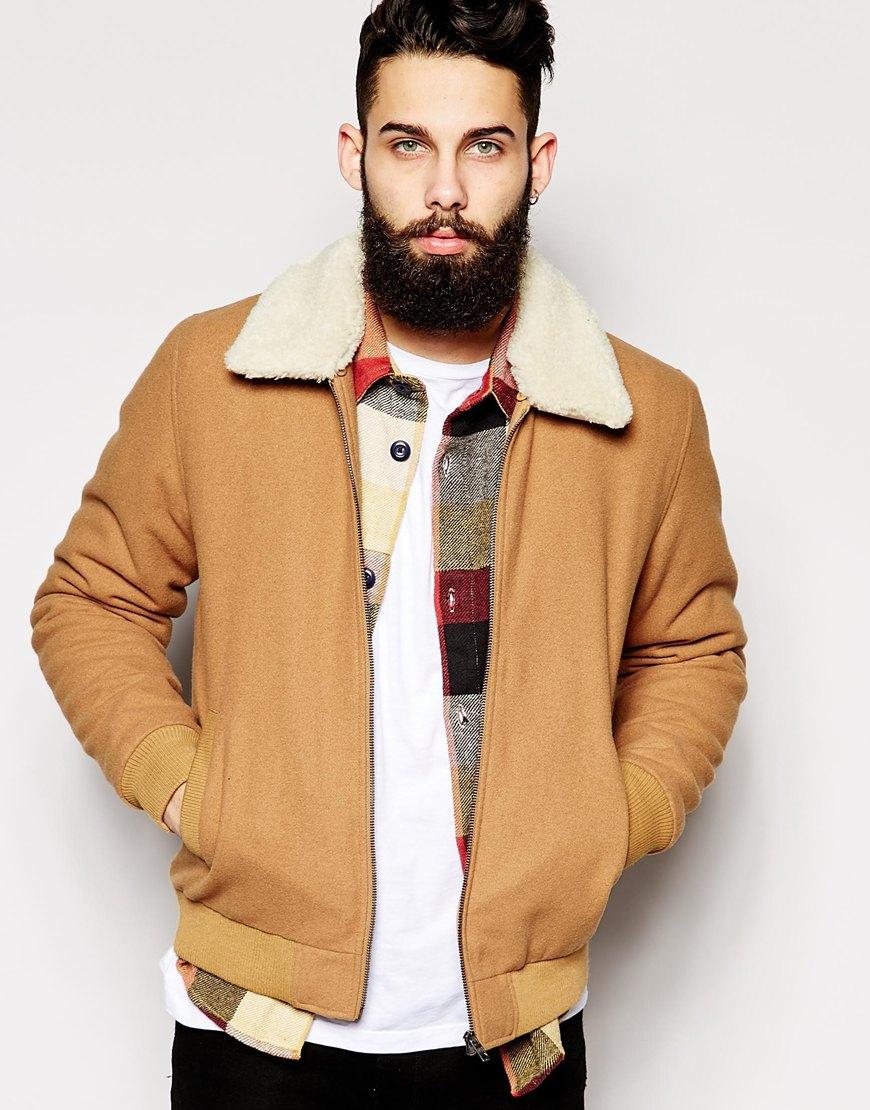54c004f88ea Lyst - ASOS Wool Harrington Jacket With Fleece Collar in Brown for Men