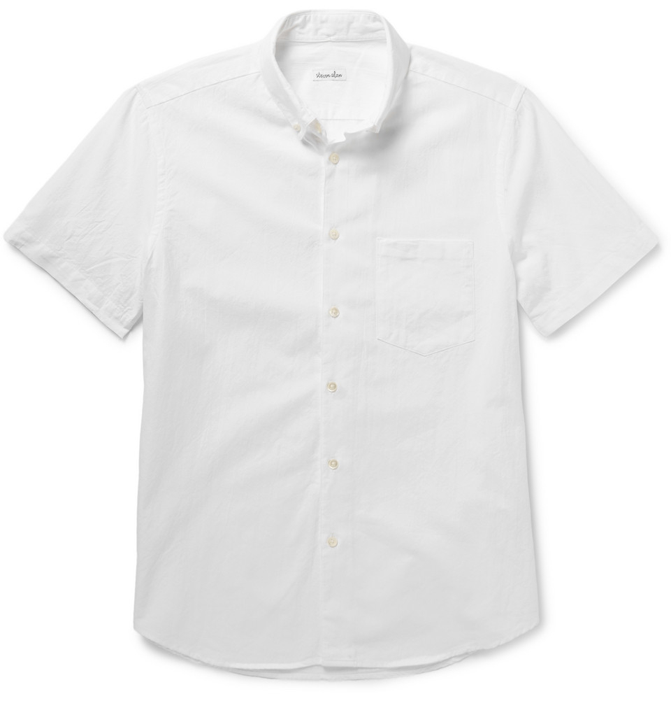 Lyst steven alan button down collar cotton oxford shirt for White button down collar oxford shirt