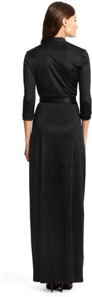 Dvf Abigail Maxi Dress Black Maxi Wrap Dress in Black