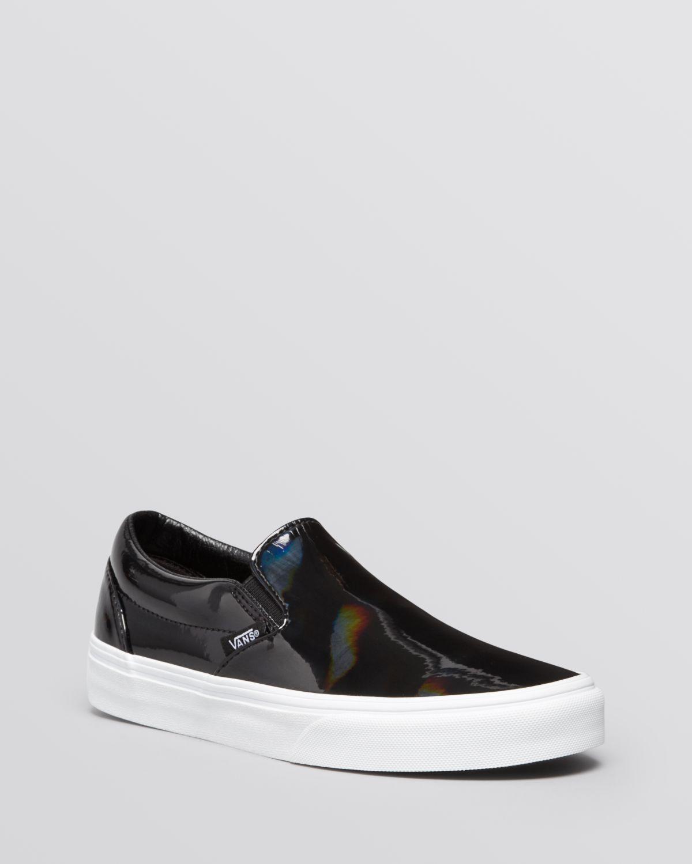 19af536e45 Lyst - Vans Flat Slip On Sneakers - Patent Leather in Black. shiny vans