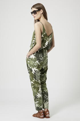 57f2197d581 TOPSHOP Palm Leaf Print Strappy Jumpsuit in Green - Lyst