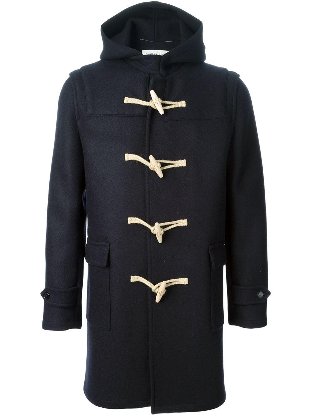 Saint laurent Classic Duffle Coat in Blue for Men | Lyst
