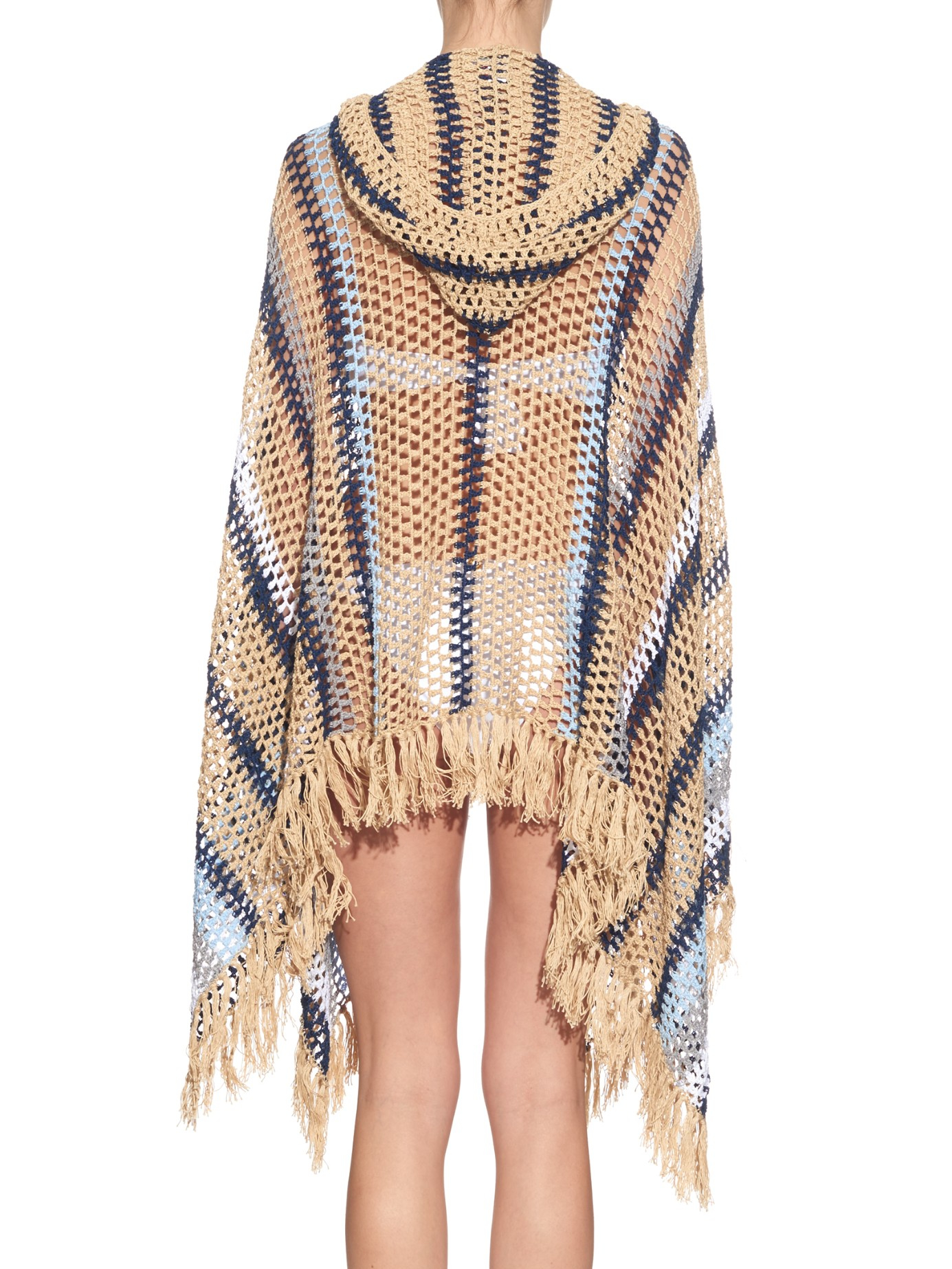 Lyst - Anna Kosturova Baja Hooded Crochet Poncho in Blue