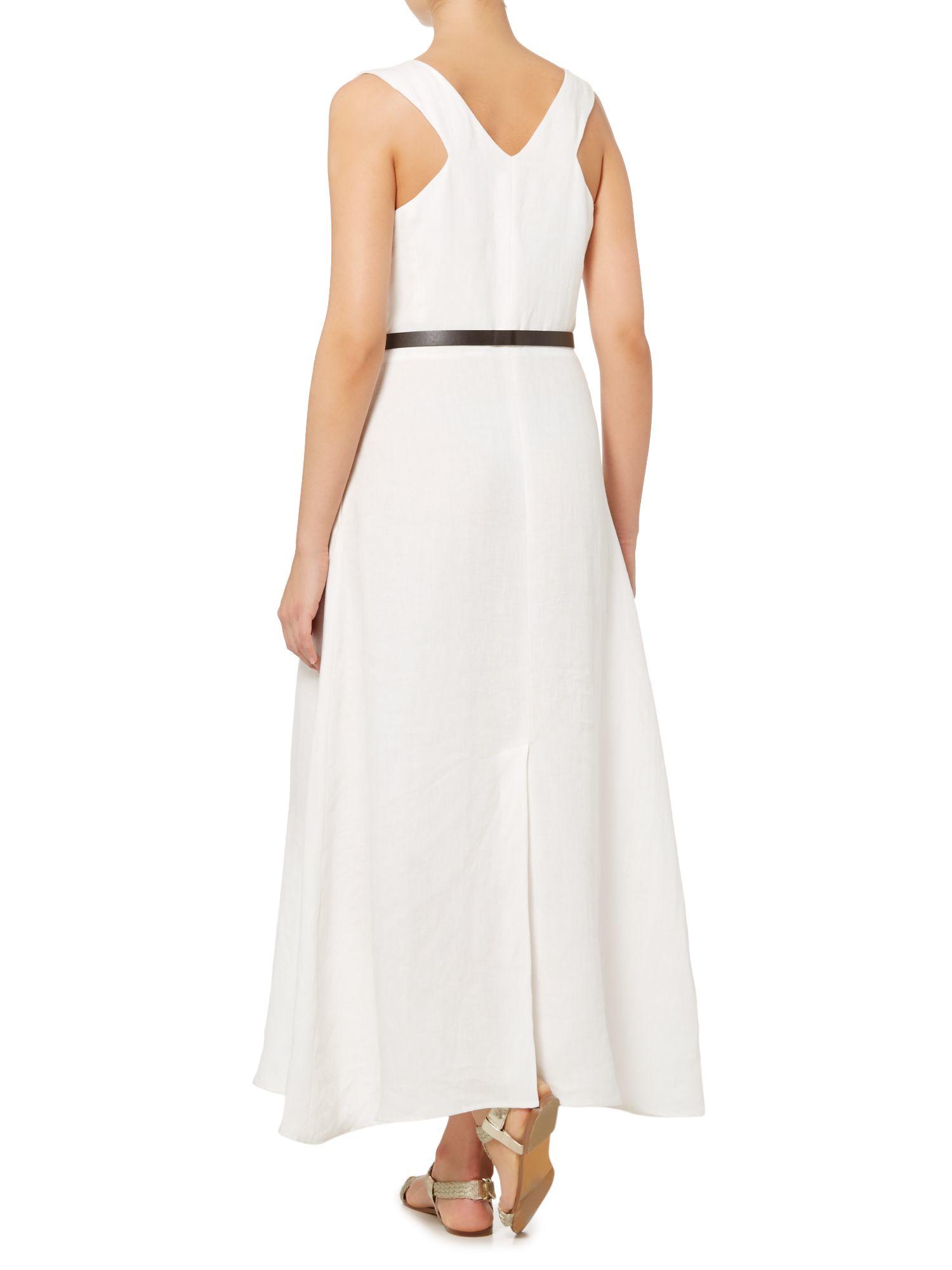 max mara amico sleeveless maxi dress with belt in white lyst