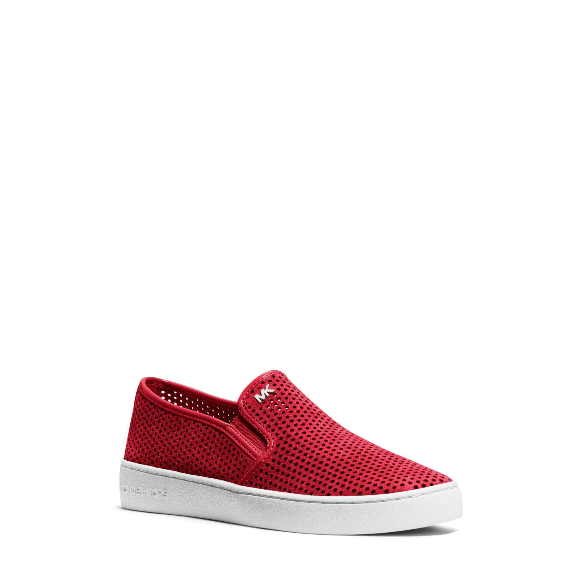 michael kors brett mesh suede slip on sneaker in red. Black Bedroom Furniture Sets. Home Design Ideas