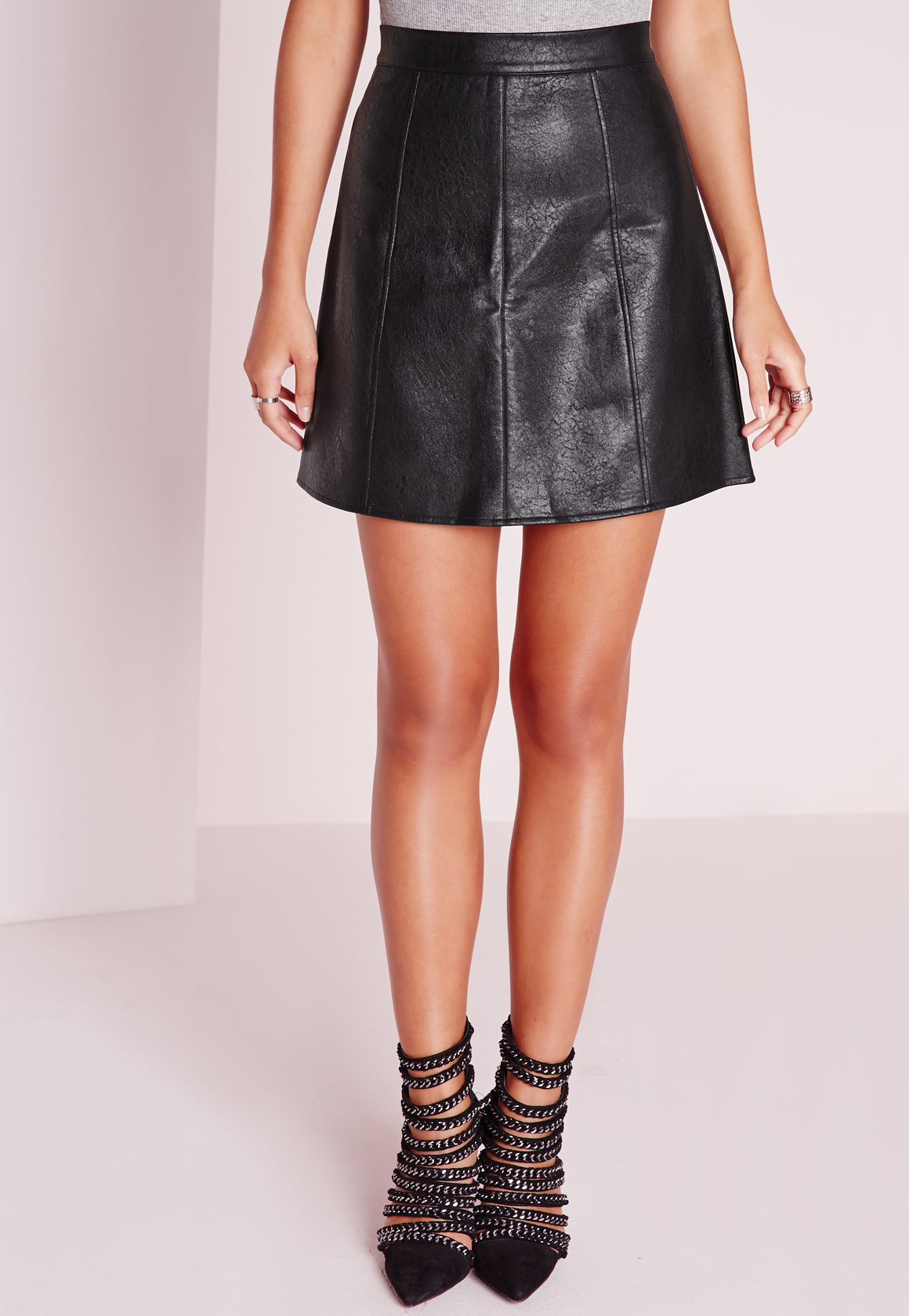 missguided faux leather a line mini skirt black in black