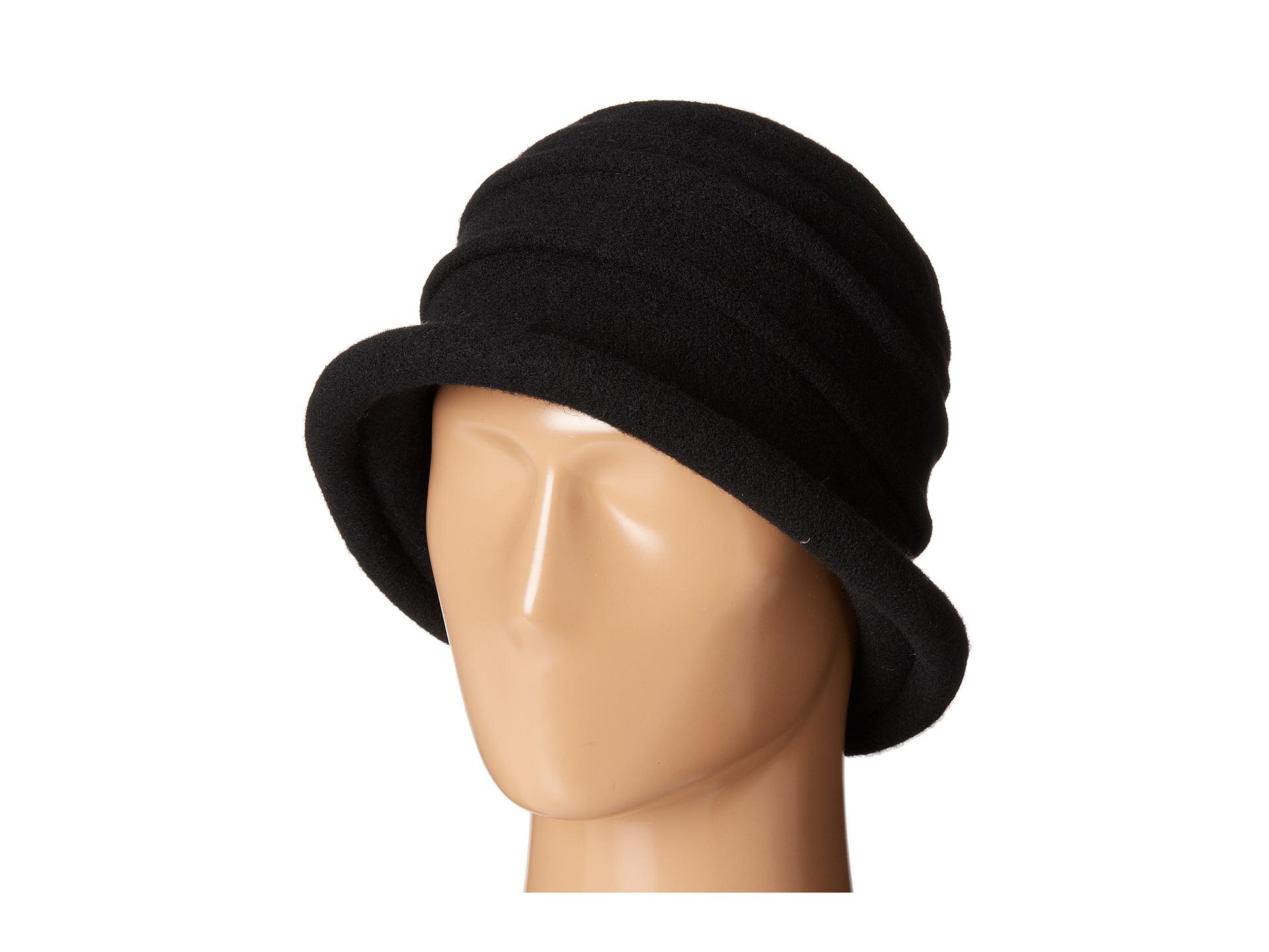 Lyst - Scala Packable Wool Felt Cloche in Black 36d948c77342