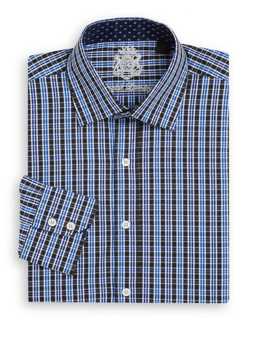 English Laundry Regular Fit Plaid Cotton Dress Shirt In