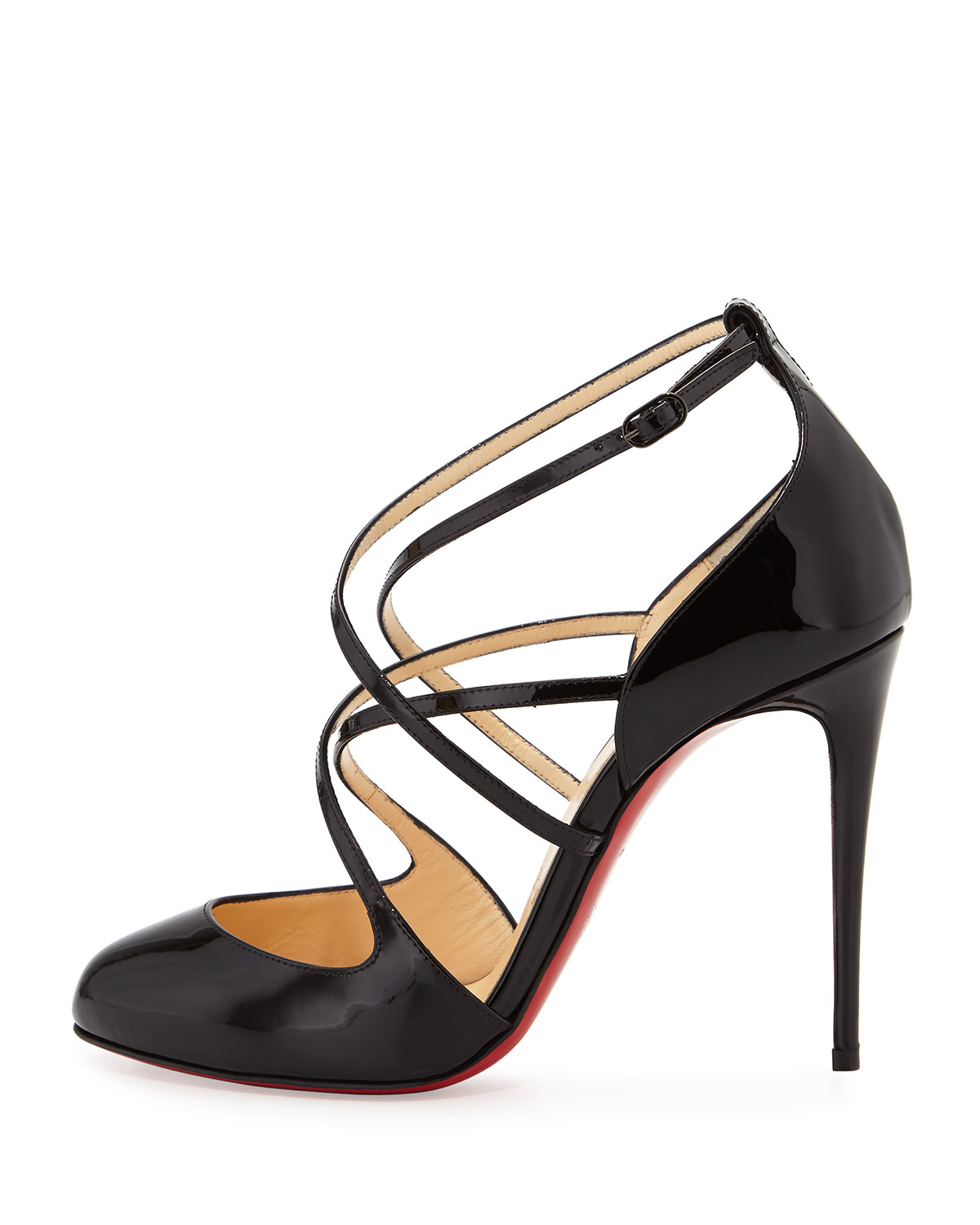daee1abdcb29 Lyst - Christian Louboutin Soustelissimo Strappy Red Sole Pump in Black