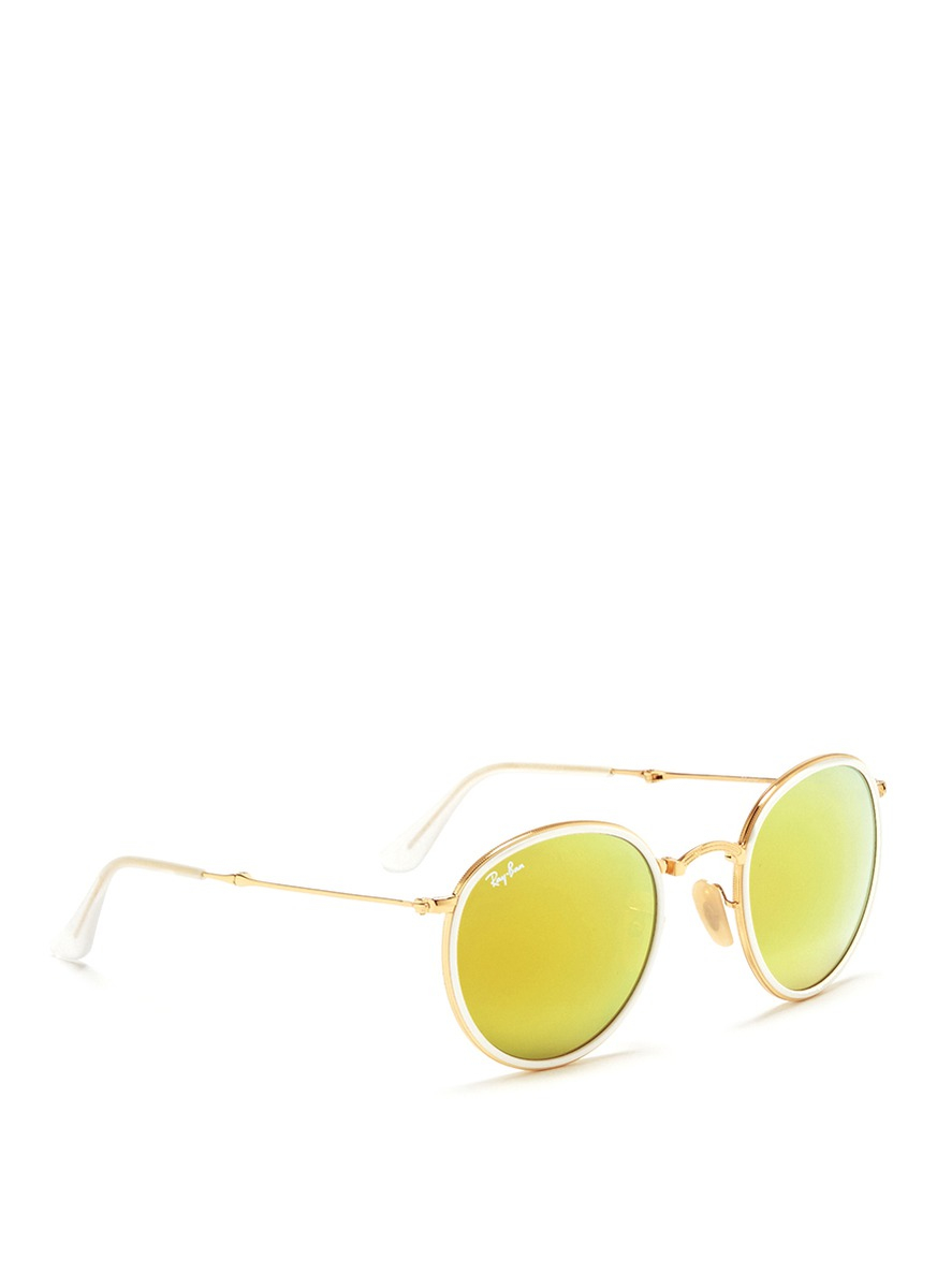 d734e761ddb3 ... usa lyst ray ban round folding flash mirror sunglasses in yellow af7d6  57466