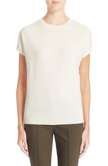 a6c7a236788 Lyst - Theory 'arshelle' Cap Sleeve Cashmere Tee in White