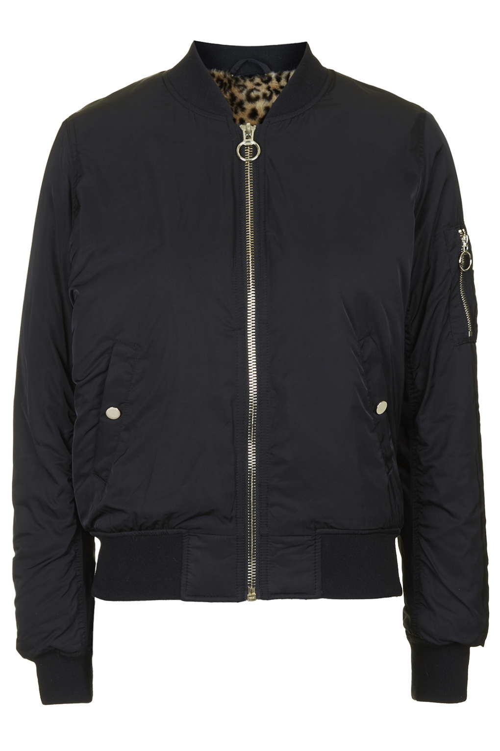 Topshop Petite Faux Fur Lined Bomber Jacket In Black Lyst