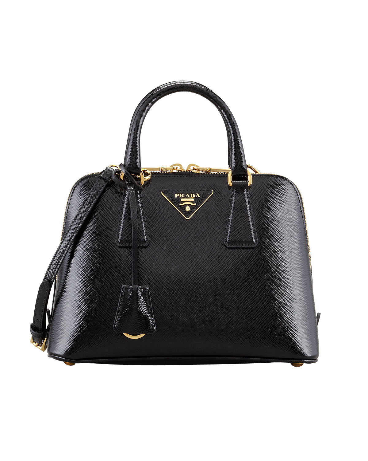 prada saffiano vernice promenade crossbody bag in black lyst