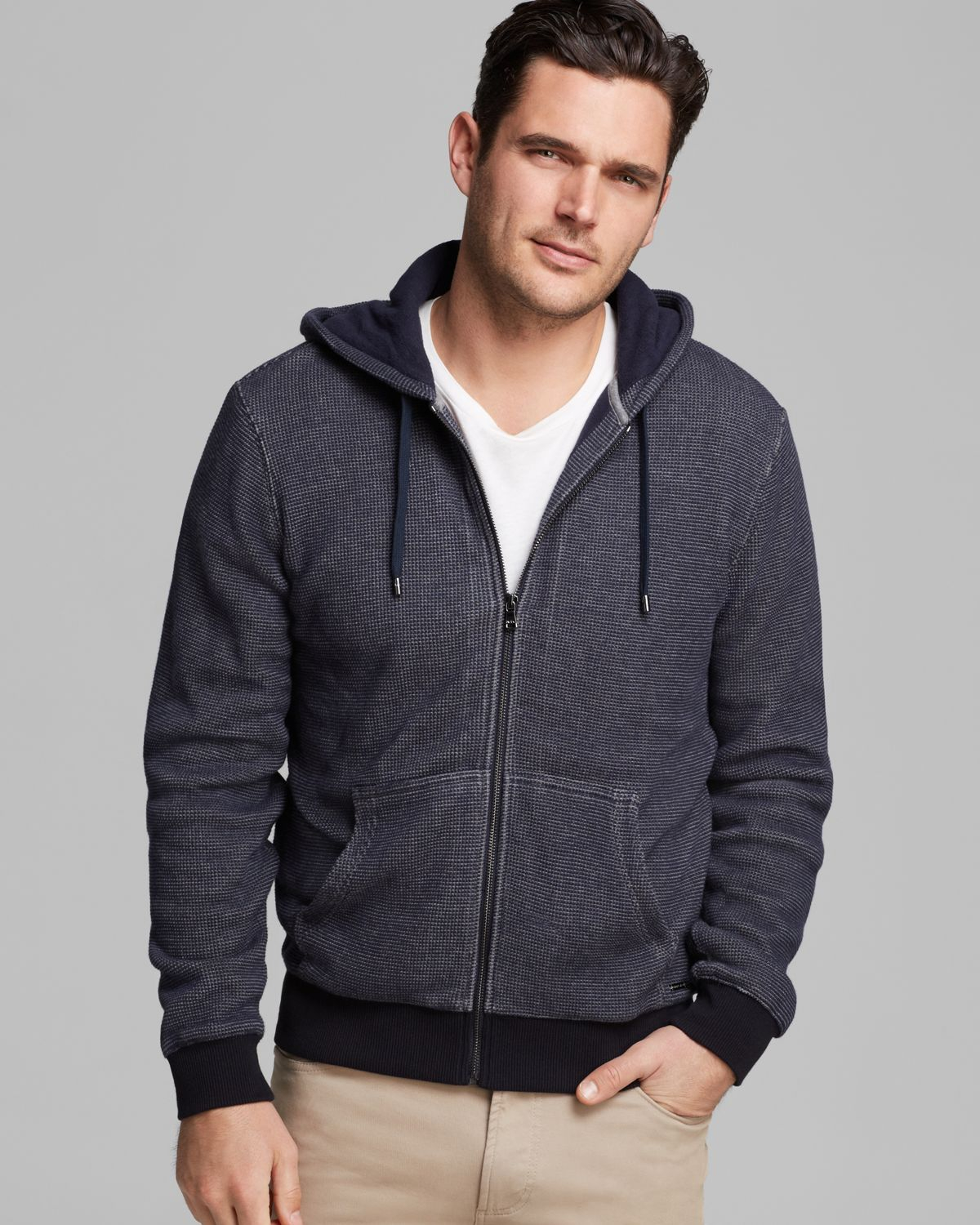 Lyst Michael Kors Waffle Knit Hoodie In Blue For Men