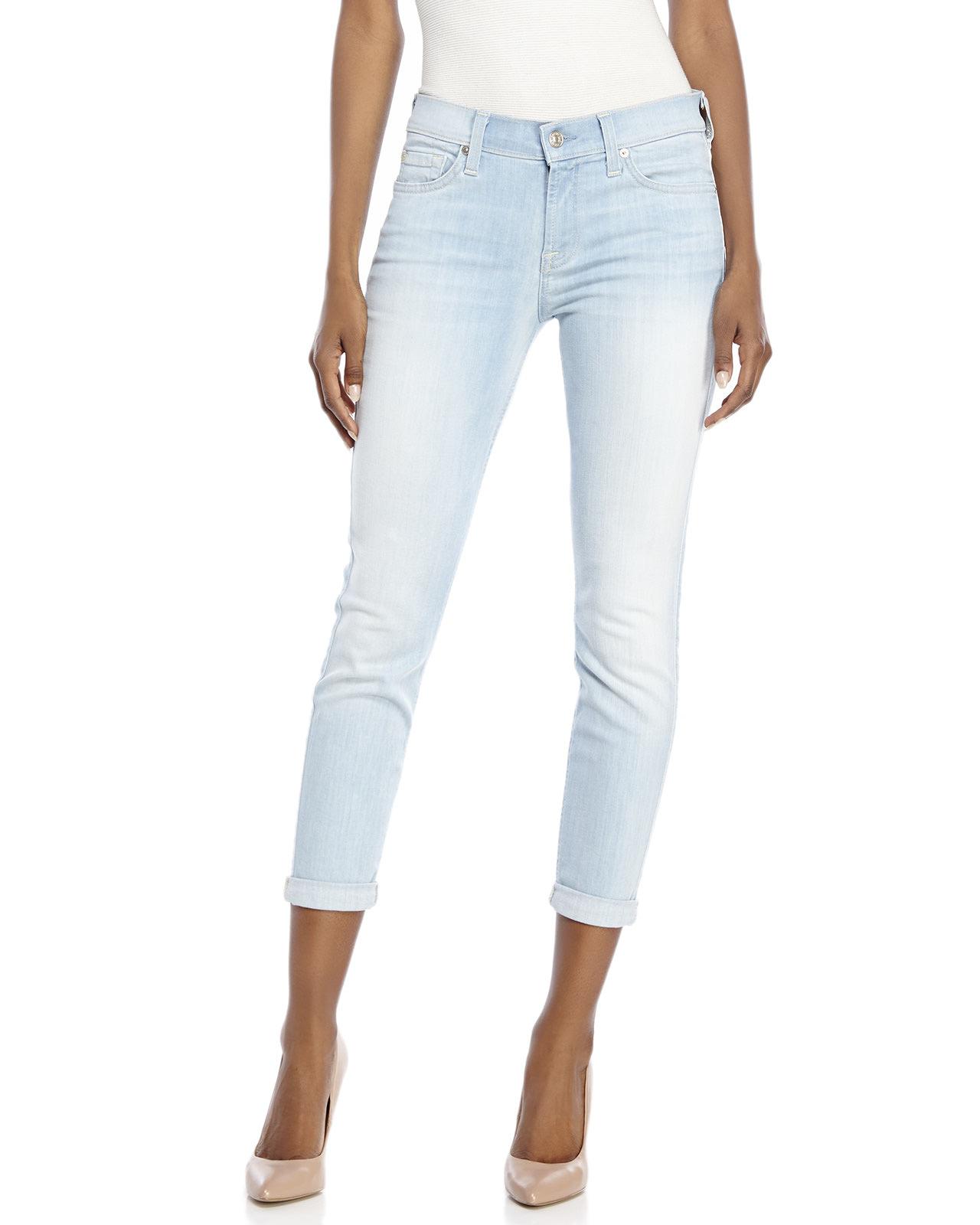 for all mankind the skinny crop roll jeans in blue light wash. Black Bedroom Furniture Sets. Home Design Ideas