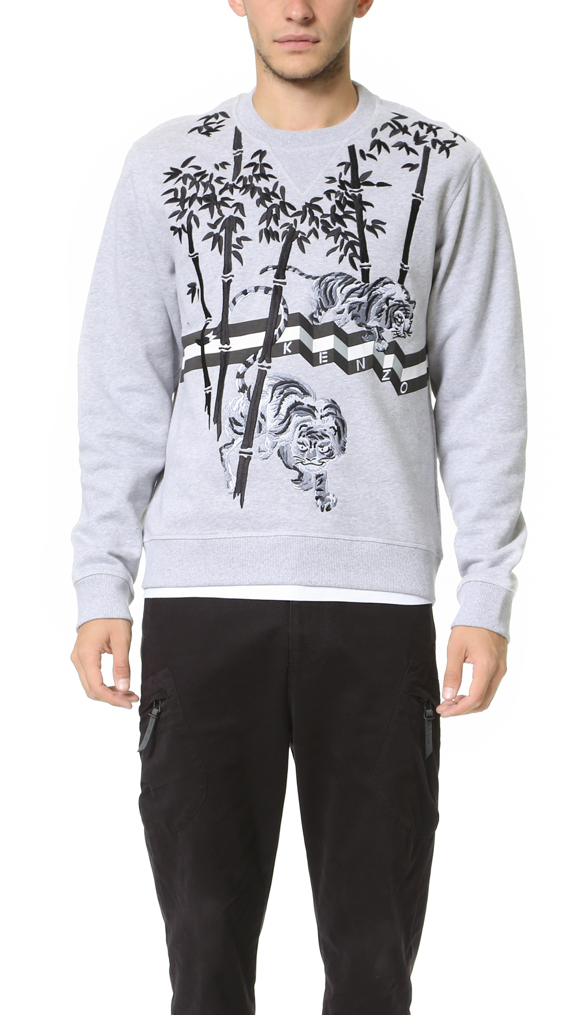 80c9478dc44e Lyst - KENZO Tiger Bamboo Sweatshirt in Gray for Men