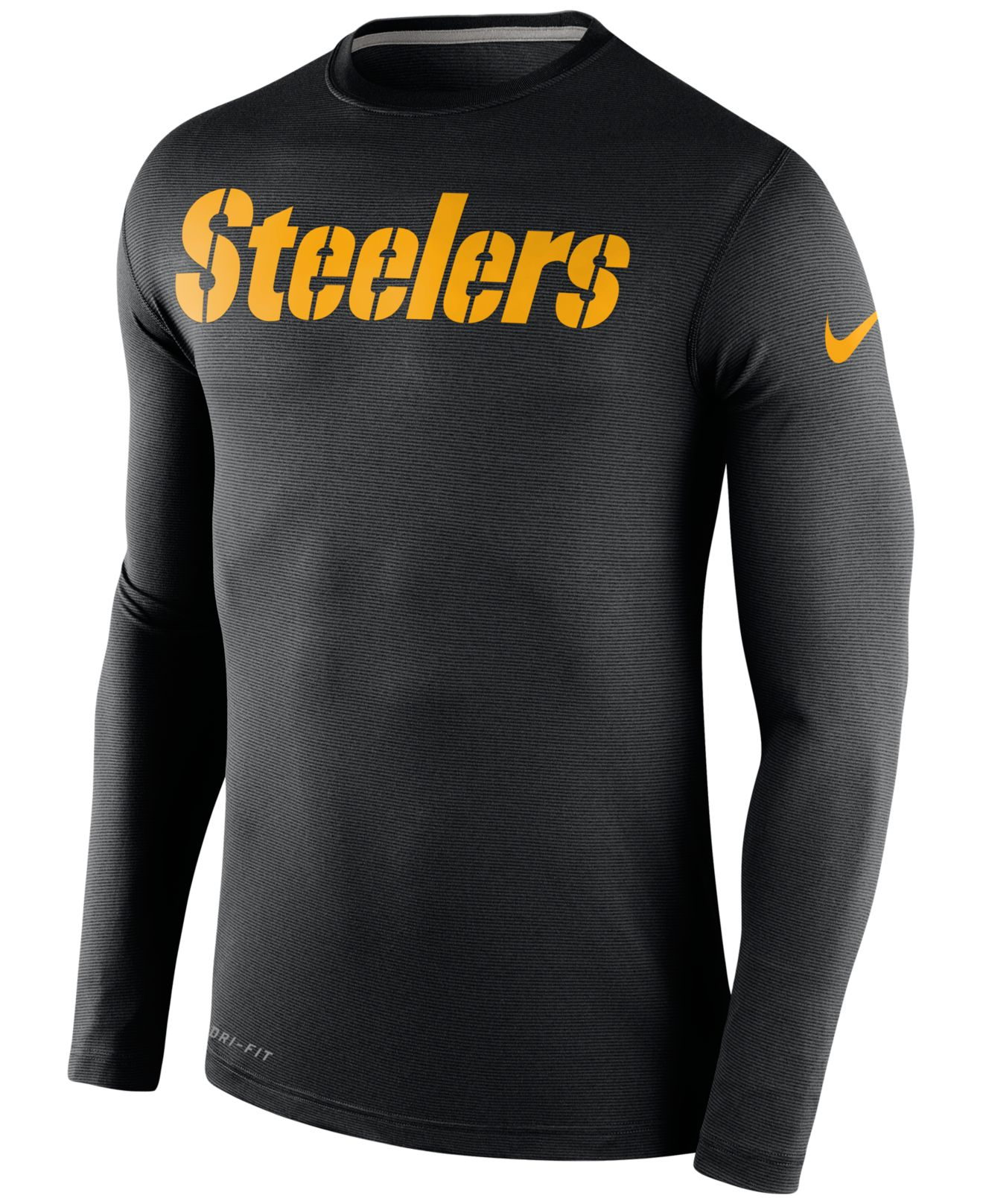 Lyst nike men 39 s long sleeve pittsburgh steelers dri fit for Long sleeve cooling mens shirts