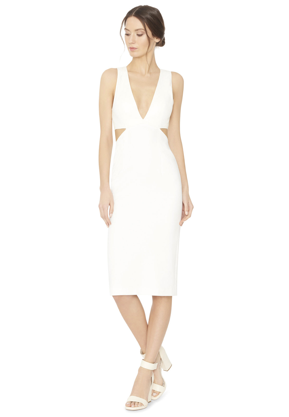 Alice   olivia Riki Leather Fitted Dress in White | Lyst